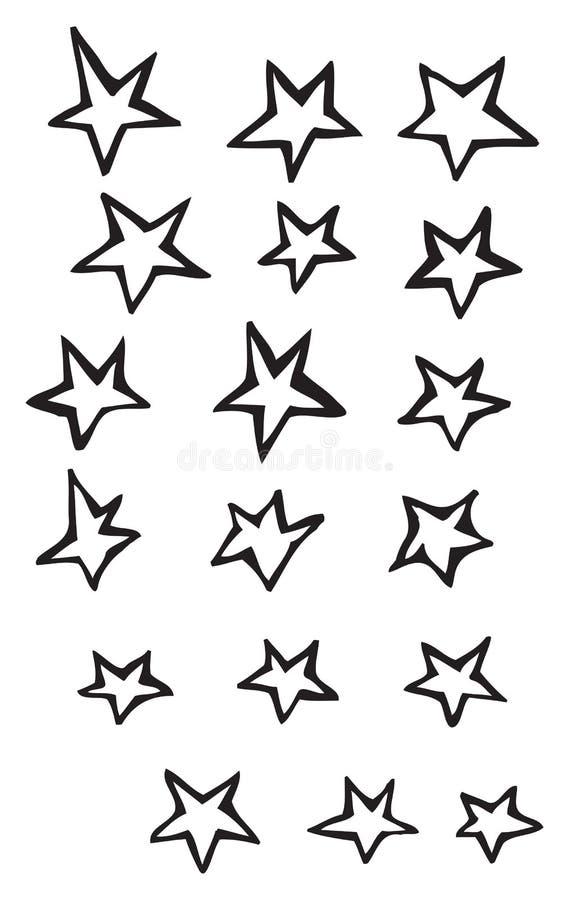 La libre-forma simple cinco estrellas del punto vector ejemplos del dibujo ilustración del vector