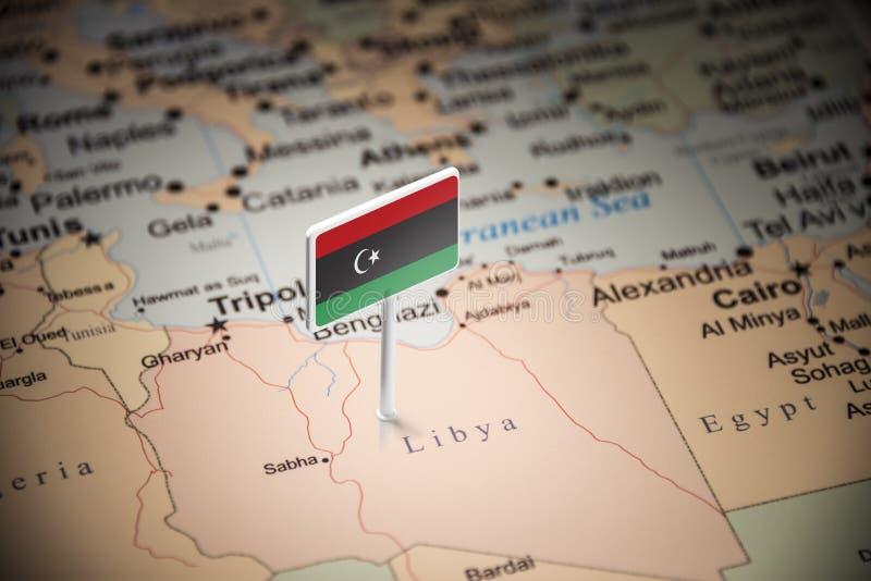 La Libye a identifié par un drapeau sur la carte image libre de droits