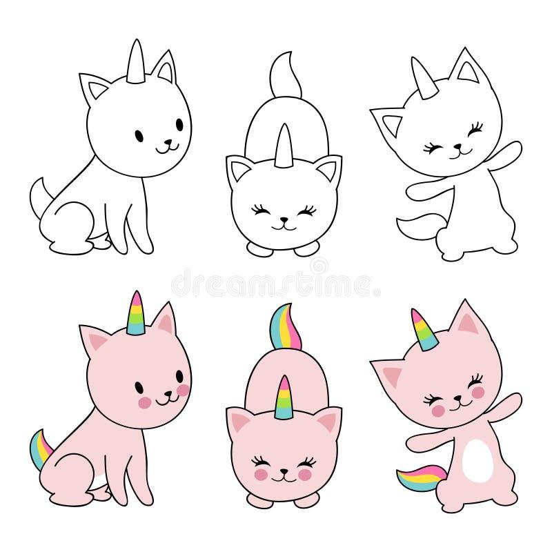 La licorne de chats de personnage de dessin animé isolaten sur le fond blanc Enfants colorant avec les chatons mignons illustration stock