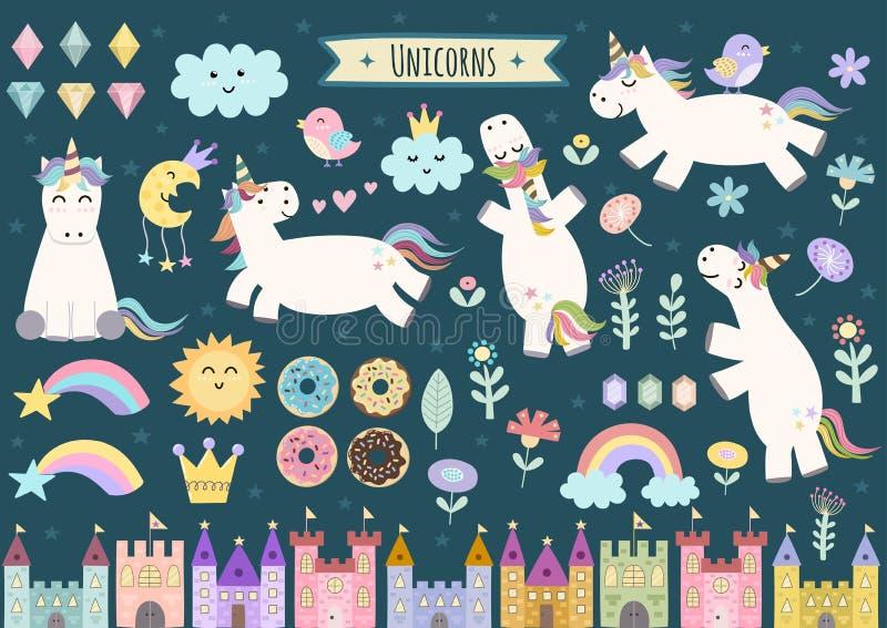 La licorne et le conte de fées ont isolé des éléments pour votre conception illustration stock