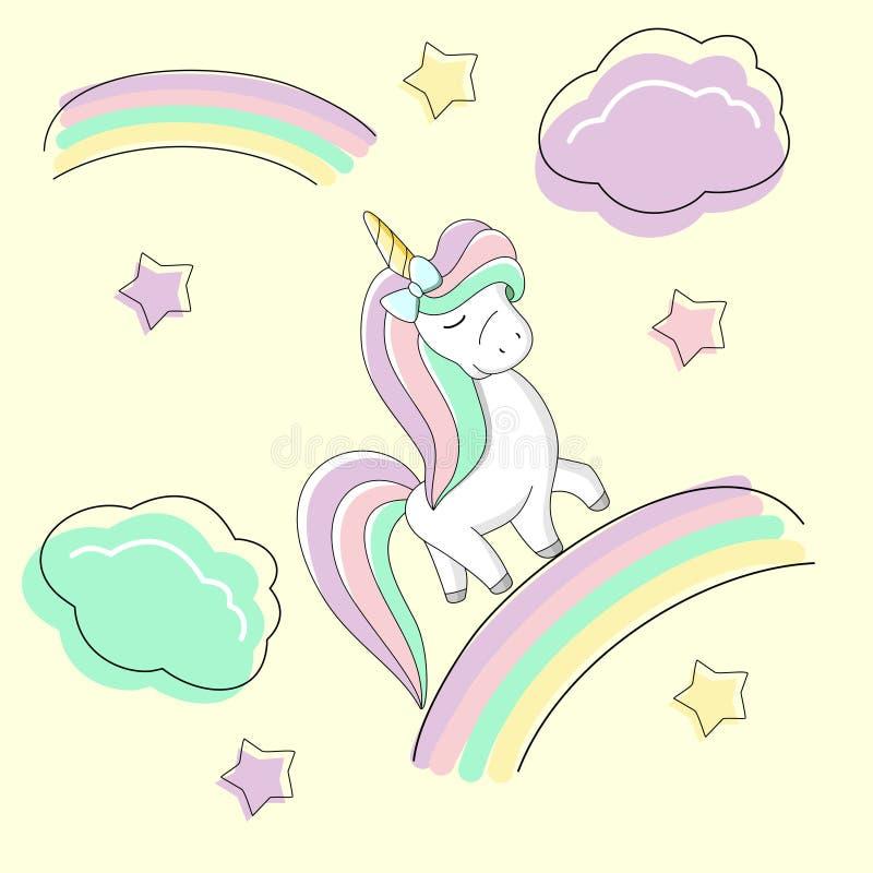 La licorne mignonne d'arc-en-ciel avec un arc est sur l'arc-en-ciel illustration stock