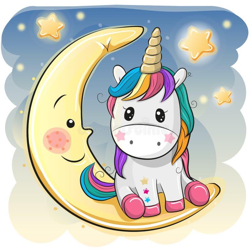 La licorne mignonne dans un chapeau pilote se repose sur la lune illustration stock