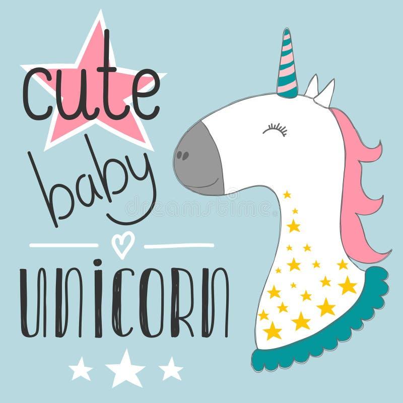 La licorne mignonne magique de bébé, étoiles affiche, la carte de voeux, illustration de vecteur avec le contour pour des enfants illustration libre de droits