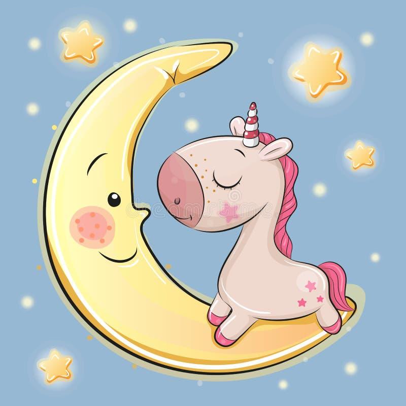 La licorne mignonne se repose sur la lune illustration stock