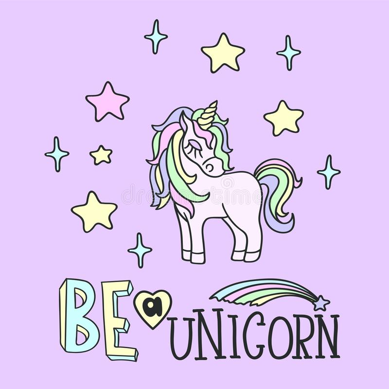 La licorne rose et soit un lettrage de licorne illustration libre de droits