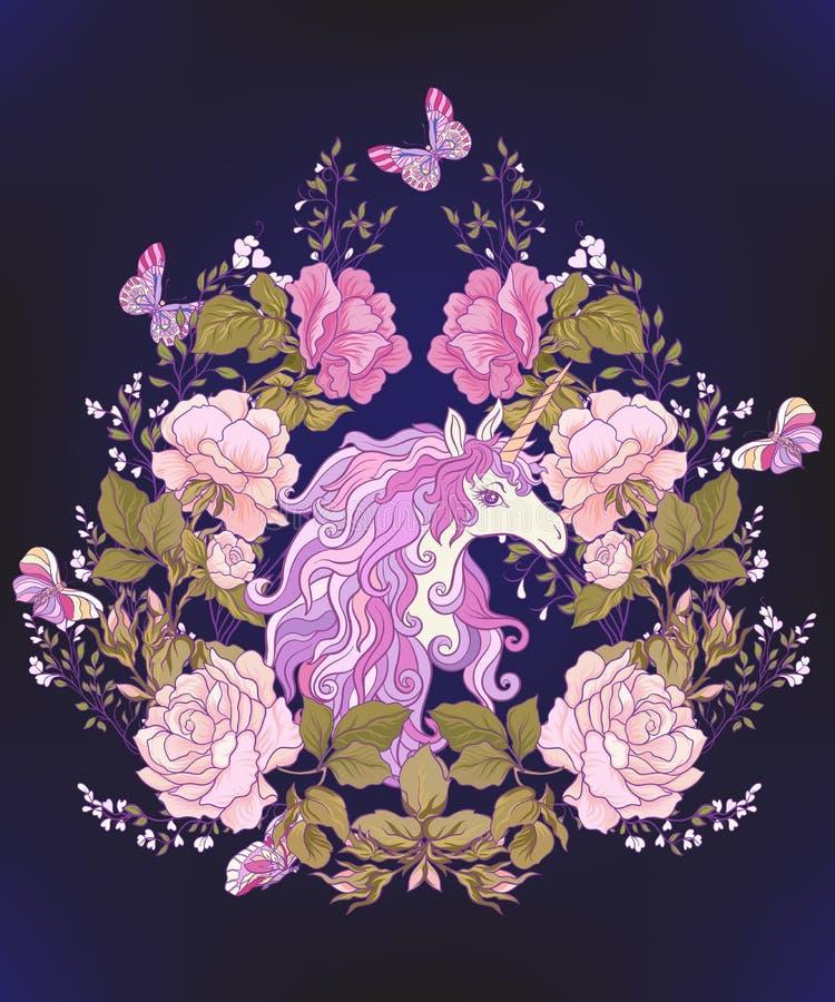La licorne, un bouquet des roses et papillons sur le backgro noir illustration de vecteur