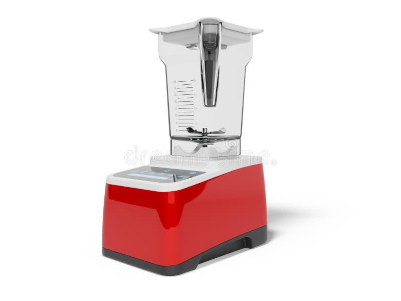 La licuadora roja con el cuenco con 3d de control de tacto rinde el ejemplo en el fondo blanco con la sombra ilustración del vector