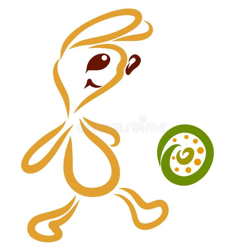 La liebre divertida golpea la bola con el pie, juego de diversión libre illustration