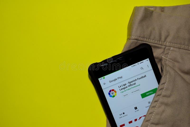 La Liga - Spaanse Officiële devtoepassing van de Voetballiga op Smartphone-het scherm royalty-vrije stock afbeelding