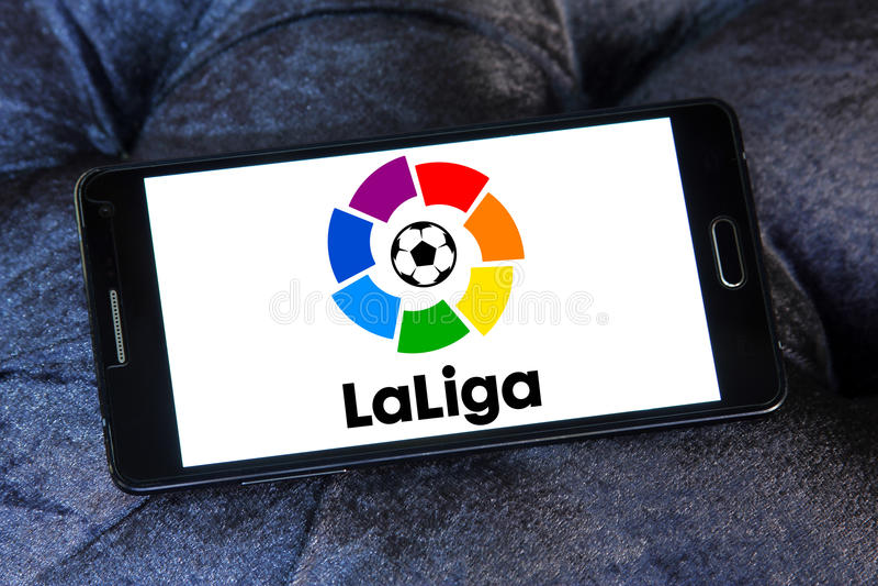 La liga, spanish league logo. Logo of la liga, spanish league on samsung mobile phone stock image