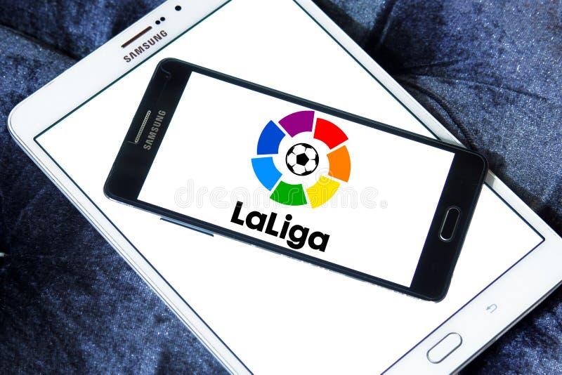 La liga, spanish league logo. Logo of la liga, spanish league on samsung mobile phone on samsung tablet royalty free stock images