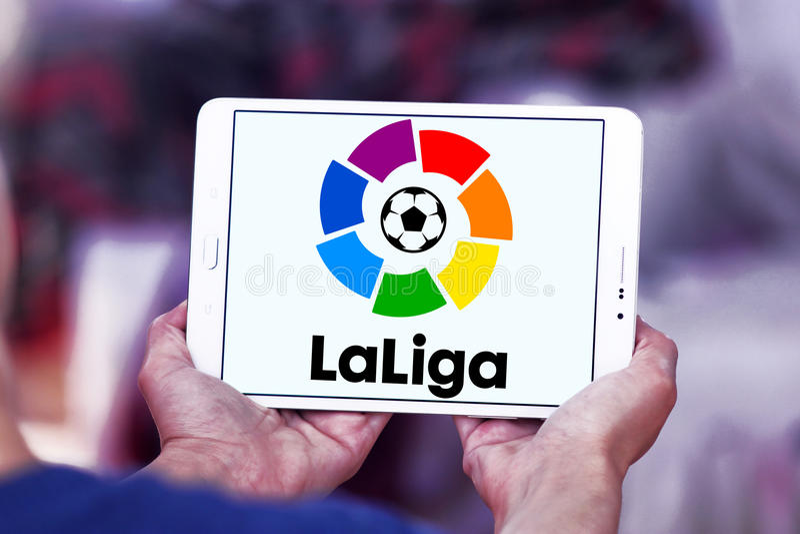 La liga, spanish league logo. Logo of La liga, spanish league on samsung tablet stock photos