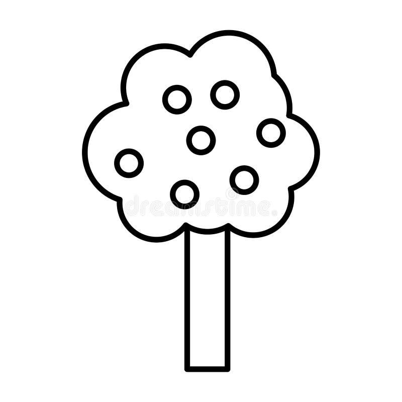 La ligne arbre de nature part avec le style de tige illustration de vecteur