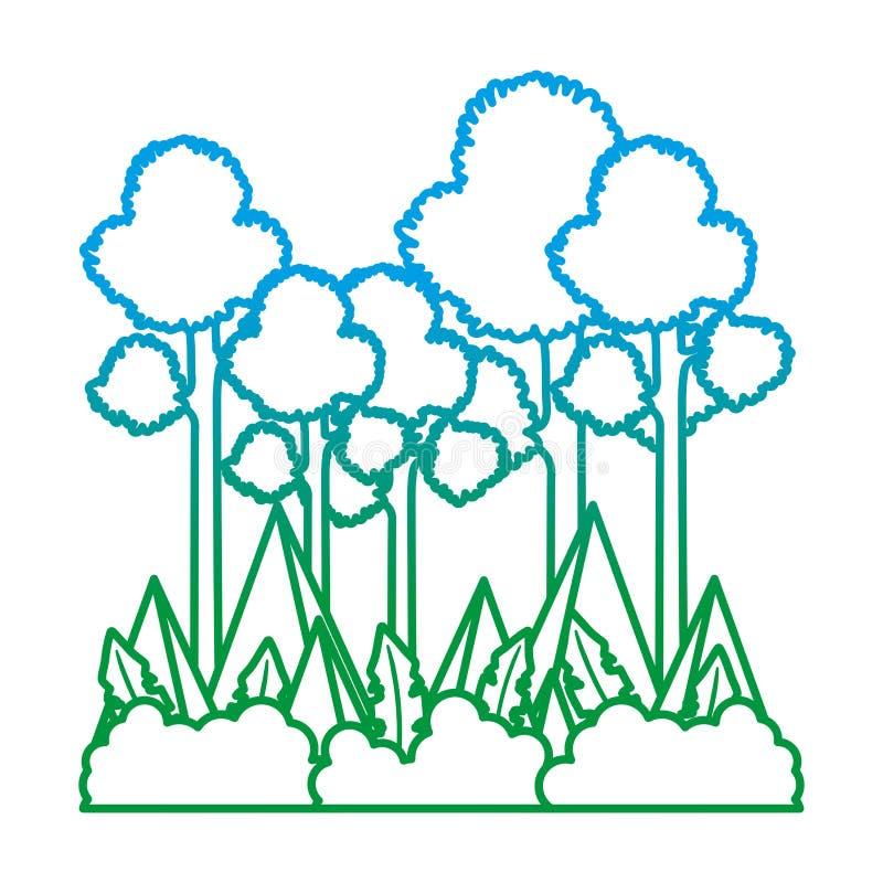 La ligne dégradée arbres grands et montagnes de nature aménagent en parc illustration stock