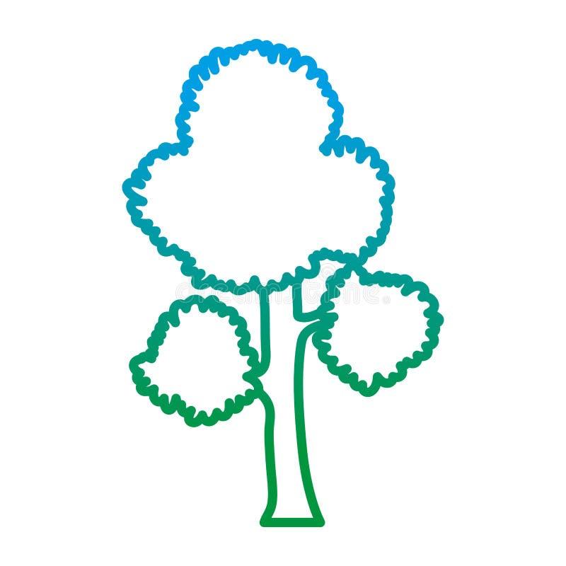 La ligne dégradée branches d'arbre exotiques part de la tige illustration stock