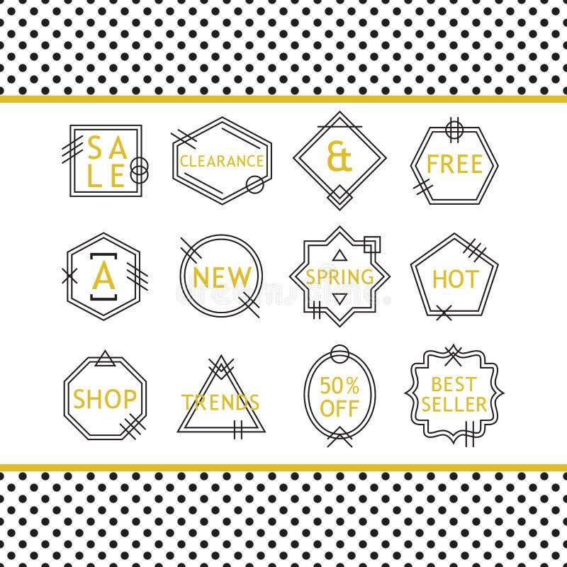 La ligne d'or et noire emblèmes de VENTE a placé sur le fond blanc illustration libre de droits