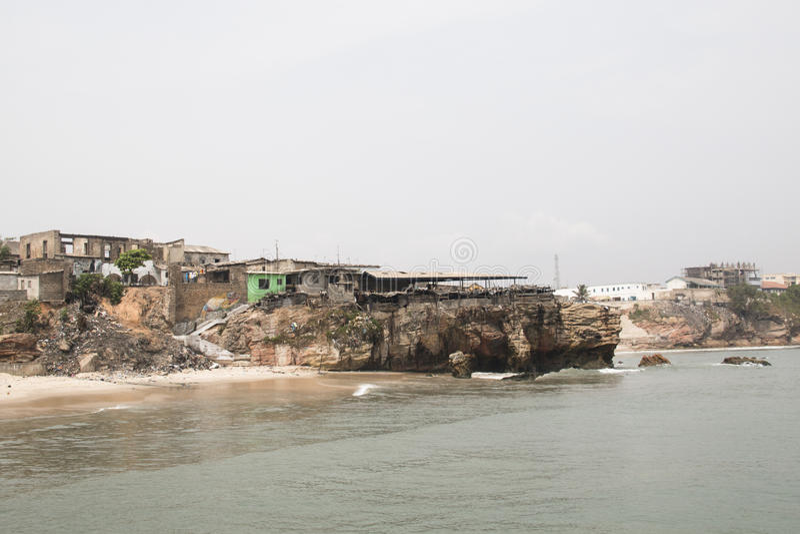La ligne de côte de Jamestown, Accra, Ghana photographie stock