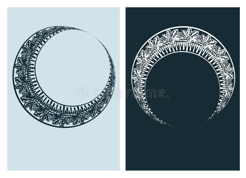 La ligne de paires de vecteur de cadre de vecteur de lune d'Art nouveau a isol? illustration de vecteur