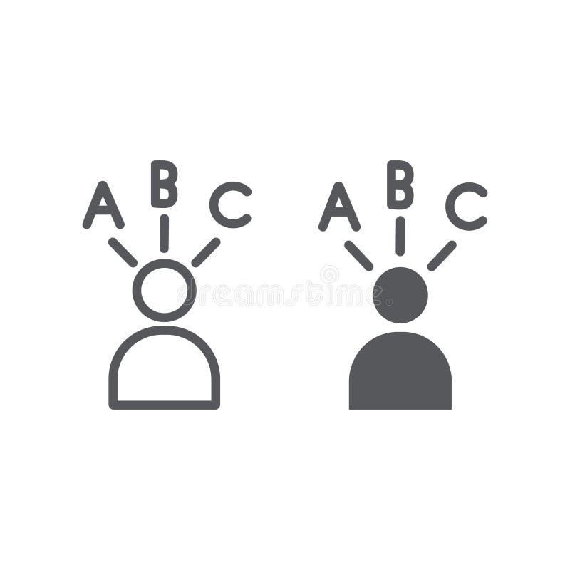 La ligne de réponse et l'icône bien choisies de glyph, pensent et personne, signe de décision, les graphiques de vecteur, un modè illustration stock