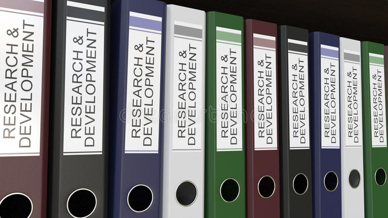 La ligne des reliures multicolores de bureau avec la recherche et développement étiquette le rendu 3D illustration libre de droits