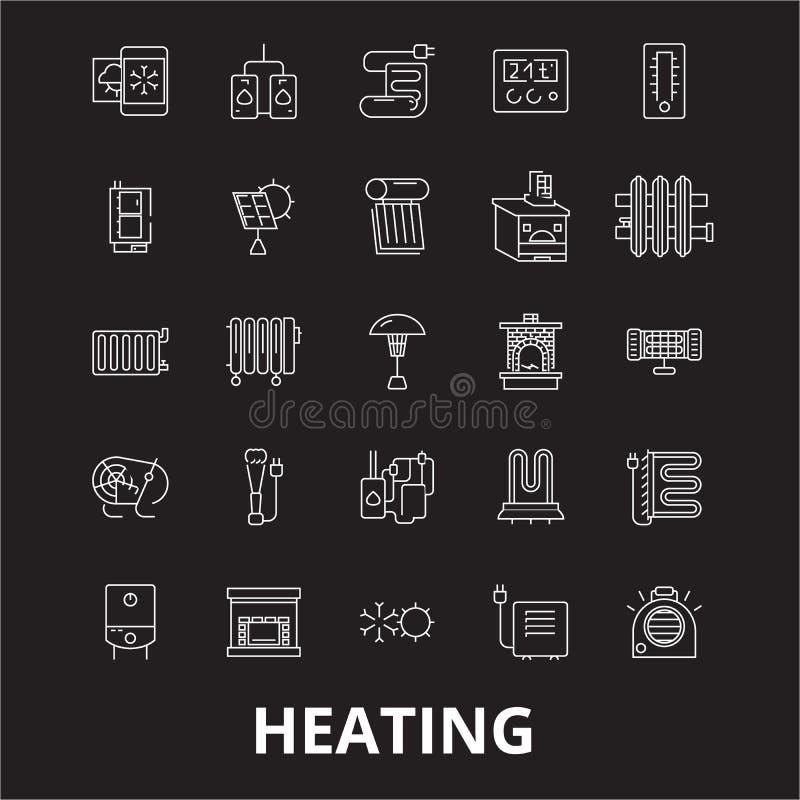 La ligne editable de chauffage icônes dirigent l'ensemble sur le fond noir Illustrations blanches de chauffage d'ensemble, signes illustration libre de droits