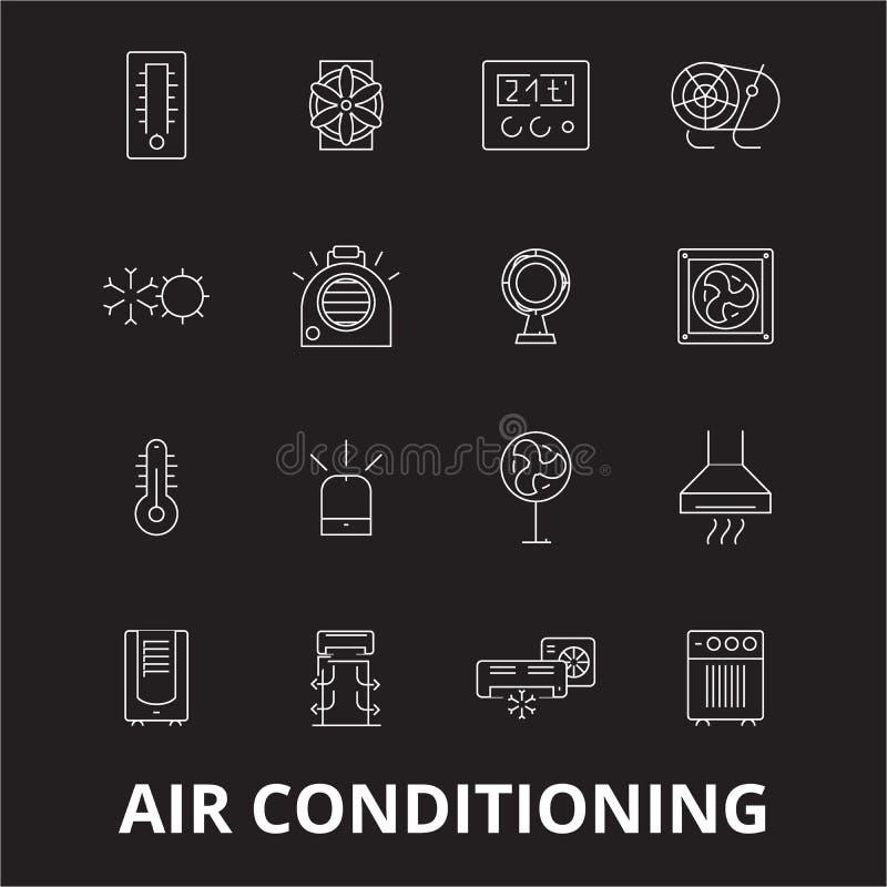 La ligne editable icônes de climatisation dirigent l'ensemble sur le fond noir Illustrations blanches d'ensemble de climatisation illustration de vecteur