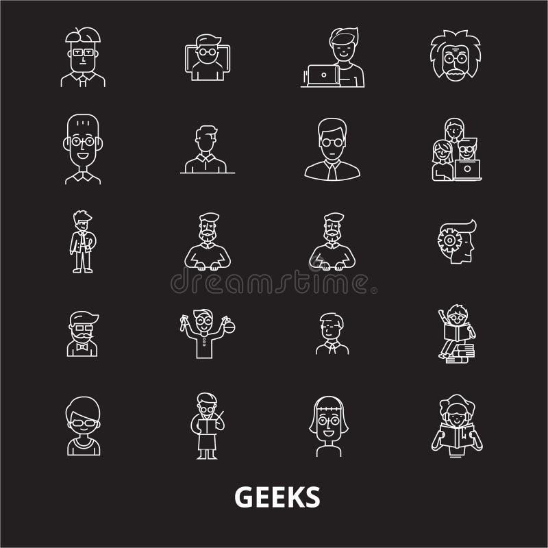 La ligne editable icônes de connaisseurs dirigent l'ensemble sur le fond noir Illustrations blanches d'ensemble de connaisseurs,  illustration stock