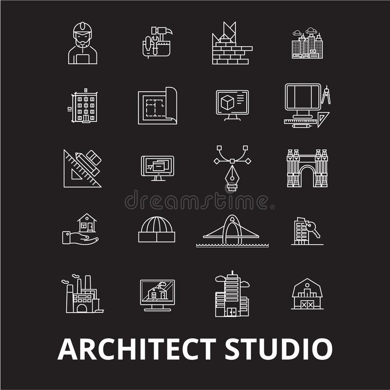 La ligne editable icônes de studio d'architecte dirigent l'ensemble sur le fond noir Illustrations blanches d'ensemble de studio  illustration stock