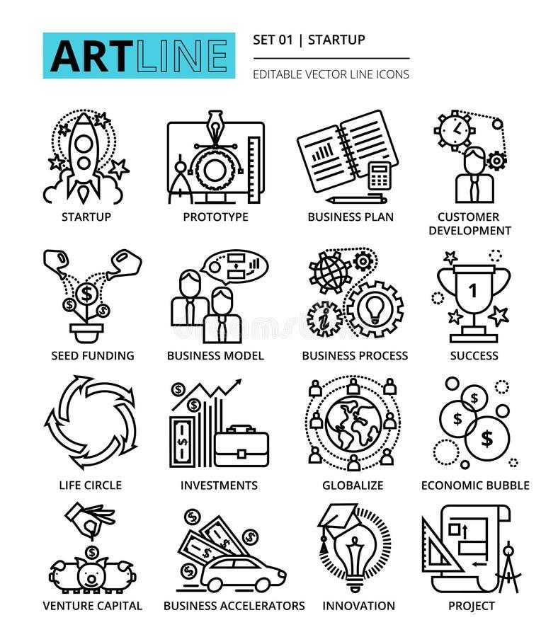 Download La Ligne Editable Moderne Icônes De Vecteur A Placé Du Projet De Démarrage, Affaires Illustration de Vecteur - Illustration du données, ligne: 77156359