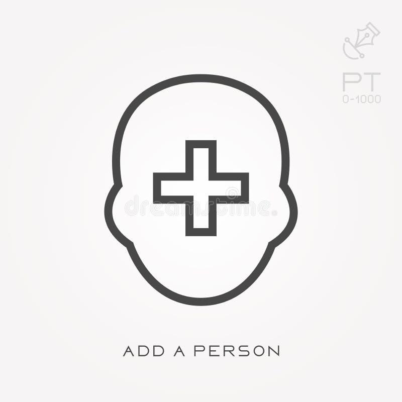 La ligne icône ajoutent une personne illustration de vecteur