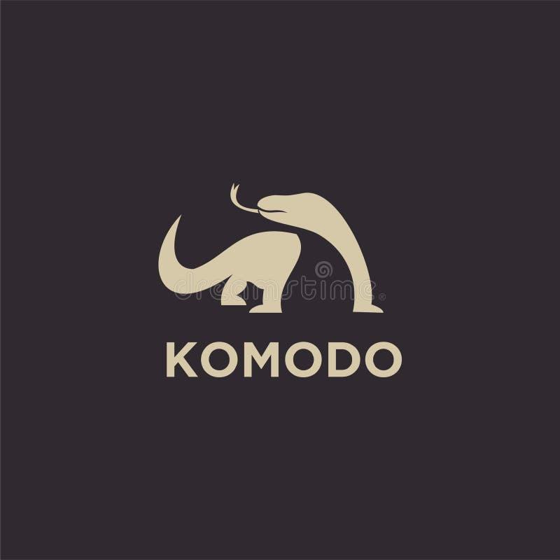 La ligne icône d'ensemble de noir de logo de komodo de bouclier de silhouette de logo de silhouette d'ensemble conçoit le vecteur illustration stock