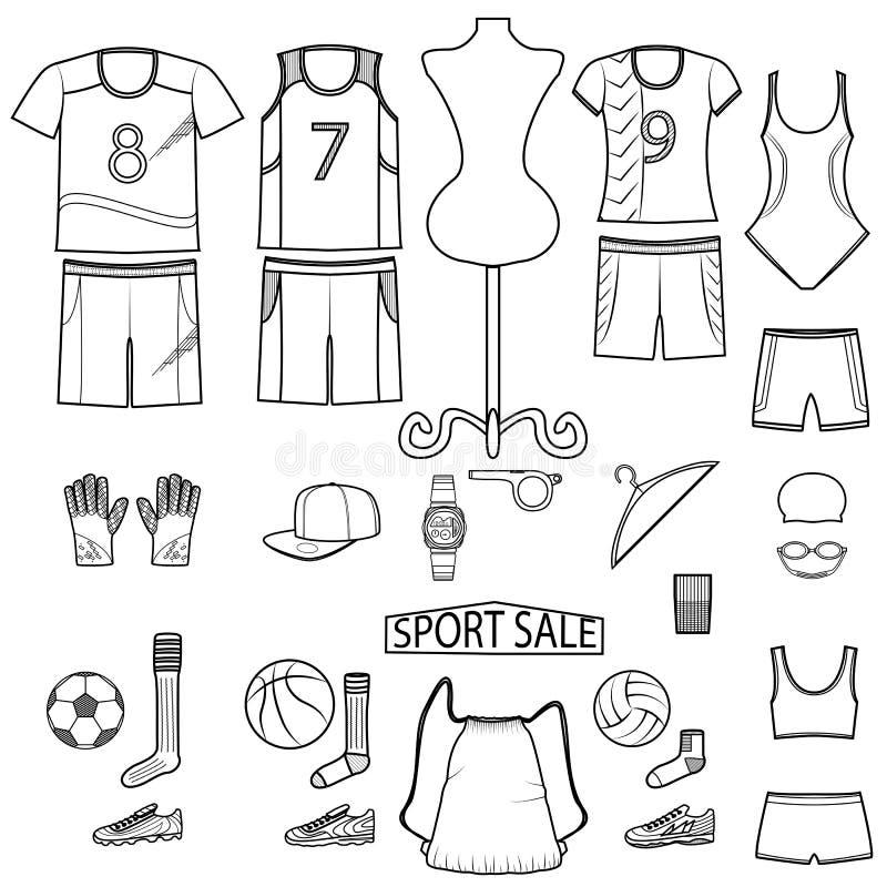 La ligne icône d'illustration de vecteur a placé - façonnez l'usage et l'équipement de sport de vente sur le fond blanc illustration de vecteur