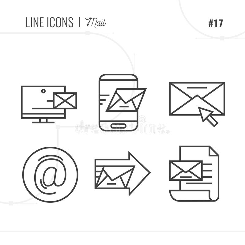 La ligne icône du courrier, enveloppes, massage, a isolé l'objet Ligne ico illustration stock