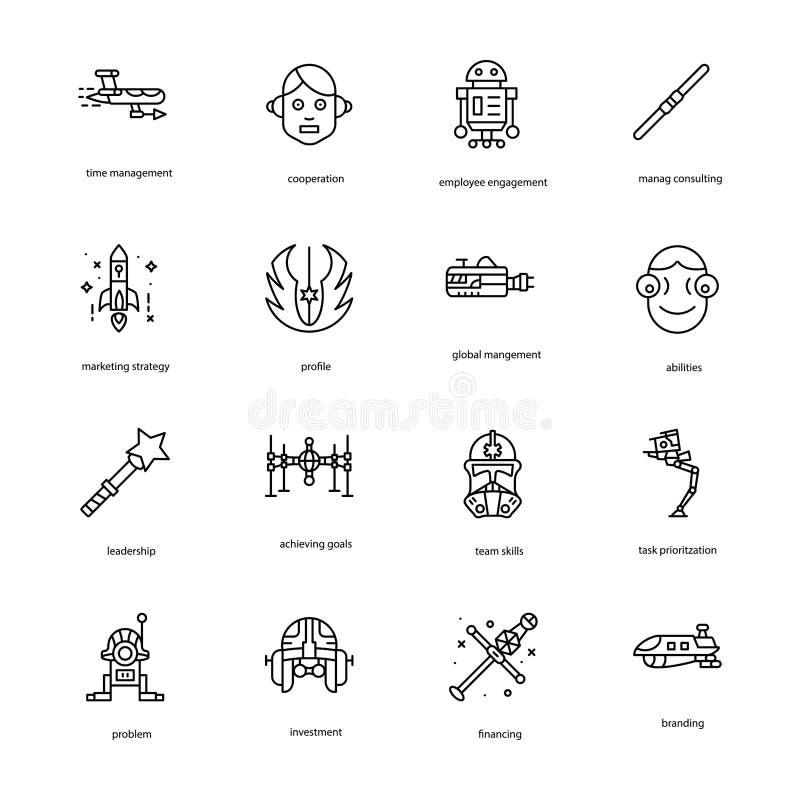 La ligne icônes de Guerre des Étoiles emballent illustration stock