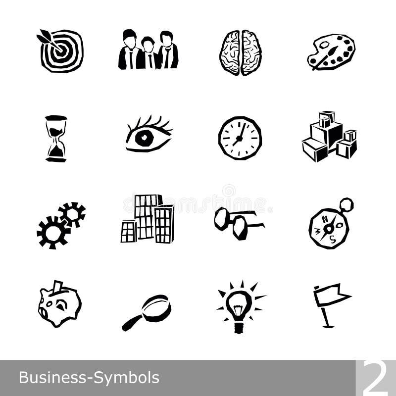 La ligne icônes de vecteur a placé des symboles d'affaires dans la conception approximative et déchiquetée unique photos stock