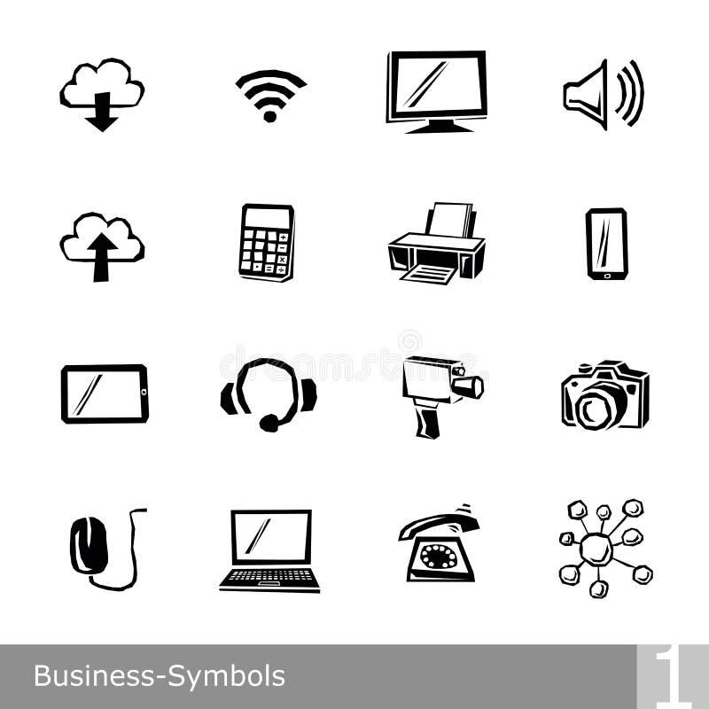 La ligne icônes de vecteur a placé des symboles d'affaires dans la conception approximative et déchiquetée unique photo stock