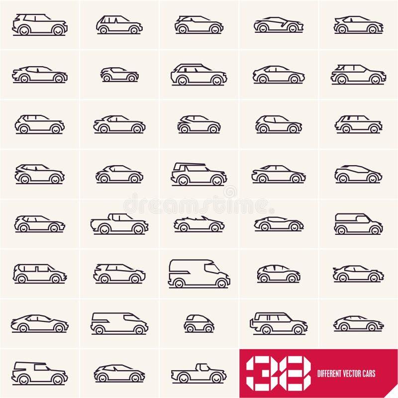 La ligne icônes de voitures réglées, voiture différente de vecteur dactylographie les silhouettes linéaires, logo de voiture daig illustration libre de droits