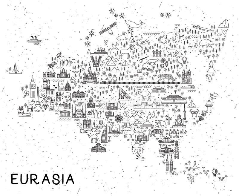 La ligne icônes de voyage de l'Eurasie tracent Affiche de voyage avec des animaux et des attractions guidées Illustration inspiré illustration libre de droits