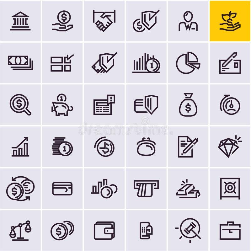 La ligne icônes de Web a placé, argent et icônes de finances illustration de vecteur