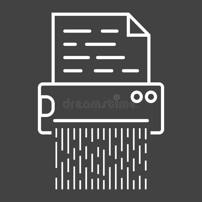 La ligne icône du destructeur de documents, détruisent le dossier illustration de vecteur