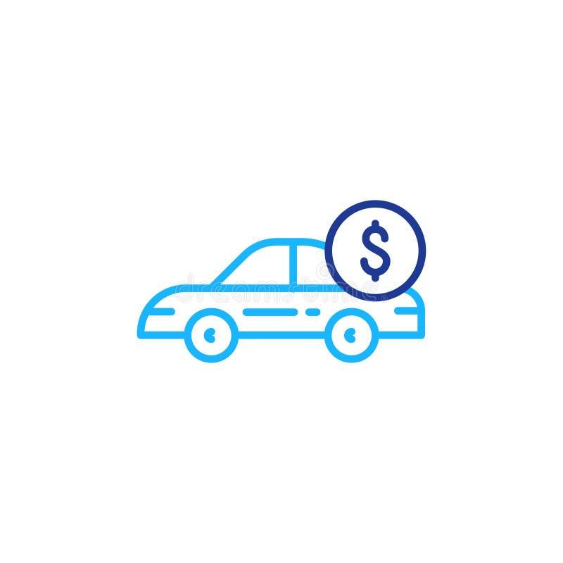 La ligne ic?ne et dollar de voiture inventent, paiement de transport, voiture de loyer illustration libre de droits