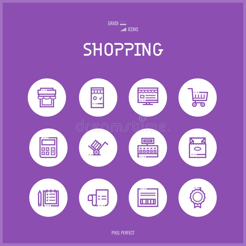 La ligne icônes de colorfuul a placé du commerce électronique et des achats illustration de vecteur