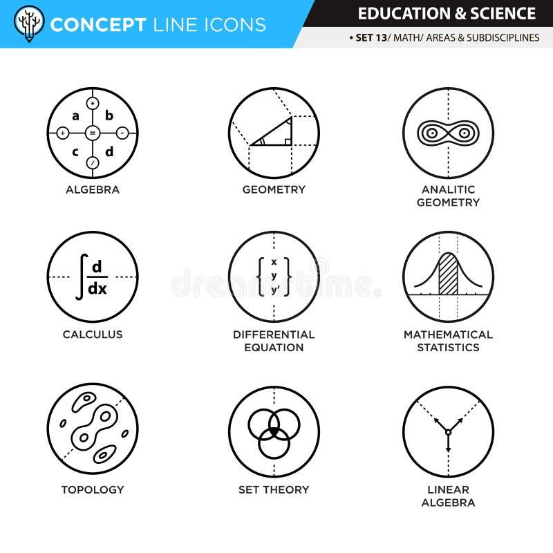La ligne icônes de concept a placé les maths 13 illustration libre de droits