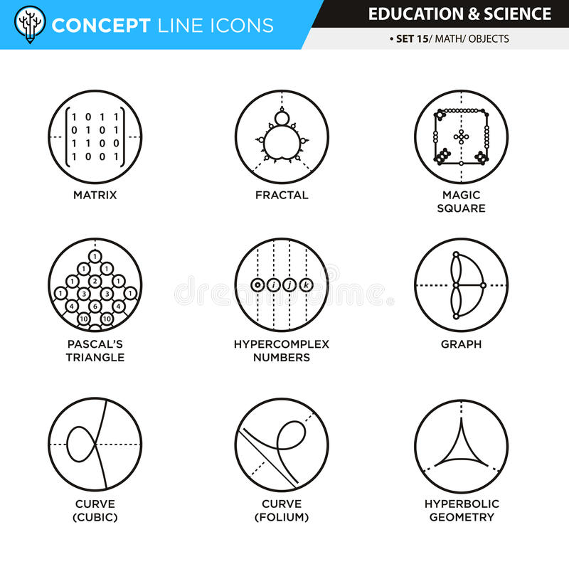 La ligne icônes de concept a placé les maths 14 illustration stock