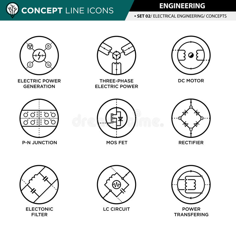 La ligne icônes de concept a placé 02 machinant illustration de vecteur