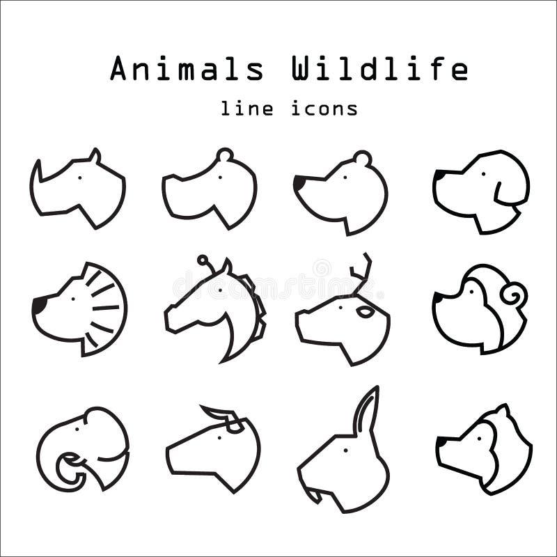La ligne icônes de faune d'animaux a placé 1 illustration libre de droits