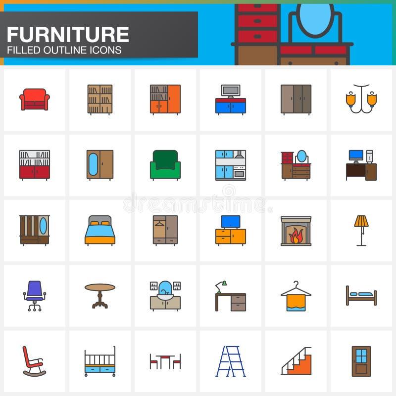 La ligne icônes de meubles réglées, l'intérieur à la maison a rempli collection de symbole de vecteur d'ensemble, paquet linéaire illustration stock