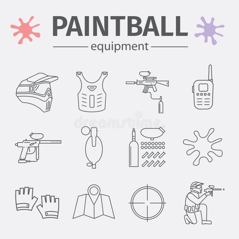 La ligne icônes de Paintball a placé d'isolement sur le fond blanc illustration de vecteur