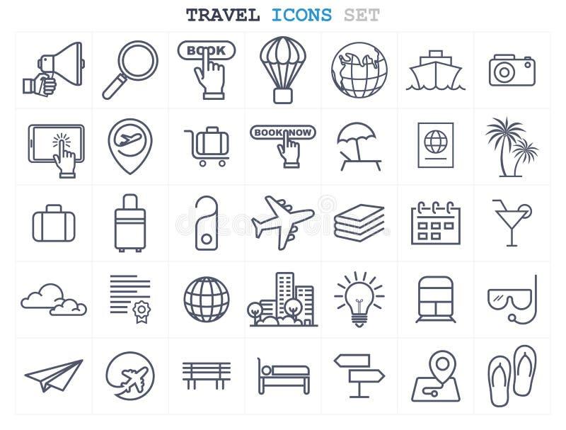 La ligne icônes de voyage et de tourisme a placé la conception plate illustration stock