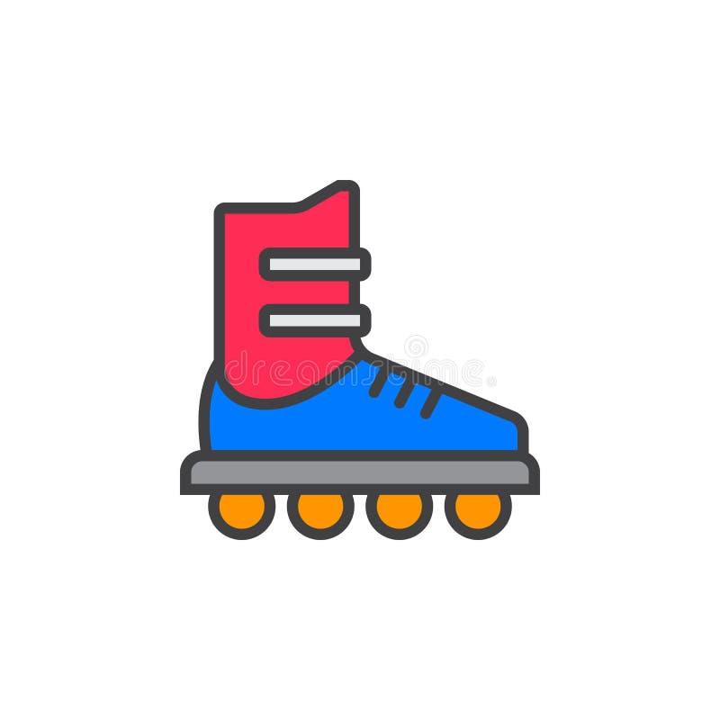 La ligne intégrée icône, rouleau de patin a rempli signe de vecteur d'ensemble, pictogramme coloré linéaire d'isolement sur le bl illustration de vecteur
